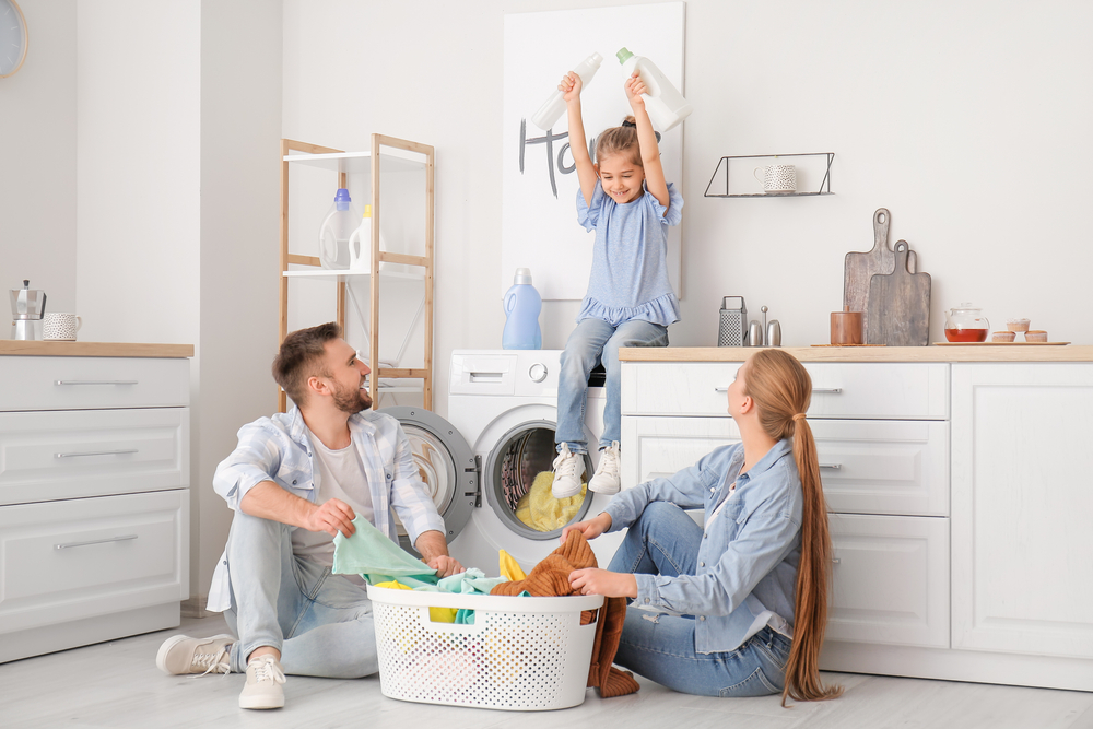 Family doing washing together